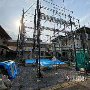 狛江の家、足場設置!