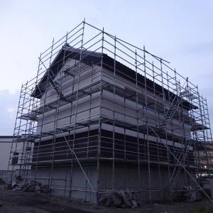 建設中の旧常北条の区民会館と神明車鞘蔵