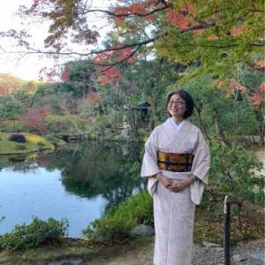 結城紬で名残りの紅葉狩り