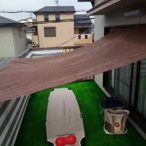 日除けシェードをタープ代わりにしました