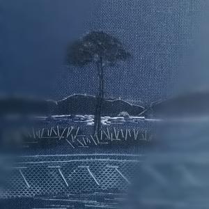 *風景刺繍「月夜の街跡」(試作)*