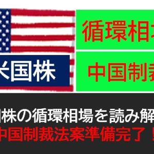 米国株の循環相場を読み解く!中国制裁法案準備完了!