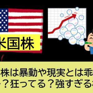 米国株は暴動や現実とは乖離!バブル?狂ってる?強すぎる株価!