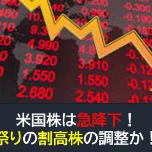 米国株は急降下!利確祭りの割高株の調整か!?