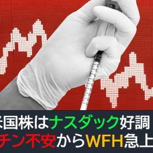 米国株はナスダック好調!ワクチン不安からWFH銘柄急上昇!