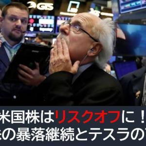 米国株はリスクオフに!中国株の暴落継続とテスラの下落