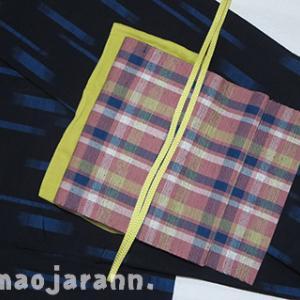 秋単衣。青い絣の正絹紬の平置き妄想コーディネート。