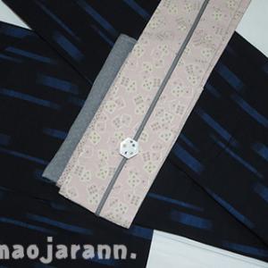 青絣の正絹単衣とサイコロ帯でどうでしょう祭り。