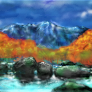 紅葉の山河 昼景 夜景