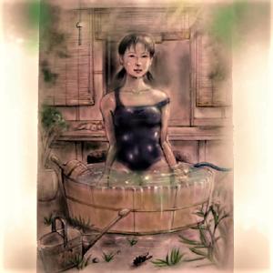 納涼 たらい水風呂 水着&ヌード