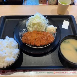 【食べ歩き】特朝ロースカツ定食 ご飯味噌汁食べ放題@松のや 愛知県長久手市