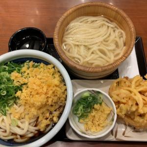 【うどん】ぶっかけ(得)+釜揚げ(並)+野菜かき揚げ@丸亀製麺