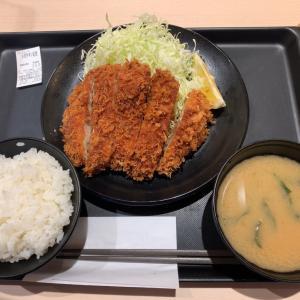 【朝ごはん】メガチキンカツ定食 @松のや 愛知県長久手市
