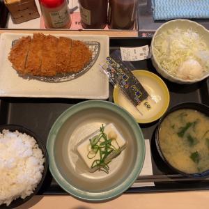 【朝ごはん】得朝ロースカツ定食 @松のや