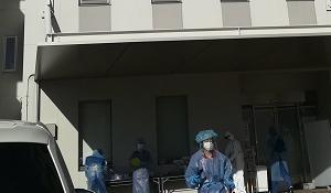 PCR検査の会場へ