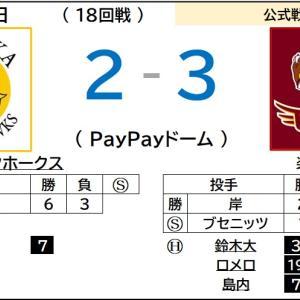 9/20【楽天イーグルス】vs ソフトバンク(18回戦)