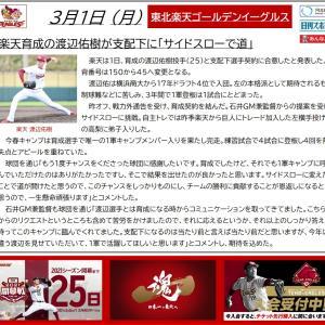 3/1【楽天イーグルス】ニュース 渡辺佑樹、支配下登録に!