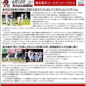 6/12【楽天イーグルス】交流戦 vs 阪神(2回戦)