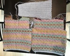 ペナで編むセーター、片袖完成