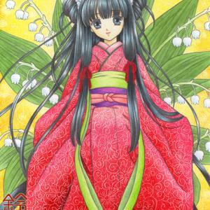 「鈴蘭の姫」色鉛筆&鉛筆オリジナル和風イラスト:「AKIRA」「カリオストロの城」