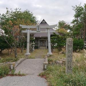 佐渡 加茂湖に突き出した岬の先端 樹崎神社(村社、御祭神は市杵嶋姫命)