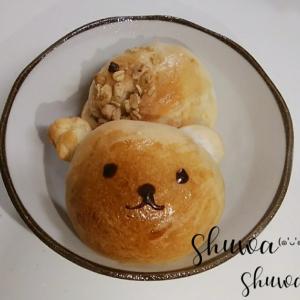 梅酵母でクマちゃんパン。