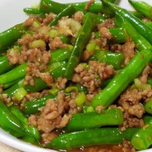 インゲンとひき肉の炒め