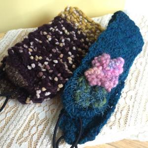 オーダーのニットヘアバンド。棒針編みと、かぎ針編みで編みました。