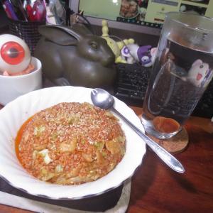 辛いライスの鶏皮キャベツ焼飯♬