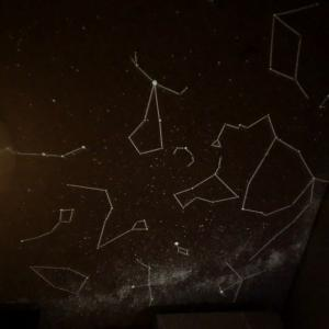 部屋の中で夜空を楽しむ