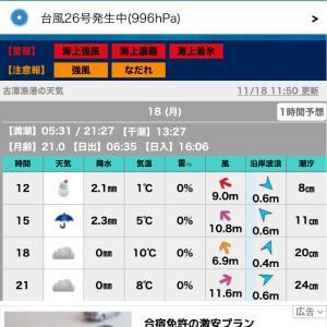 悪天候。釣具センターで(*^^*)