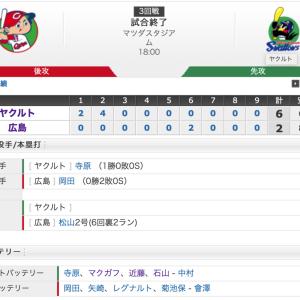 【試合結果】4/11 ヤクルトVS広島 6-2 敵地マツダで3タテ!!