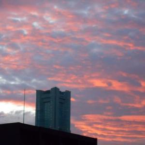 横浜の朝焼け