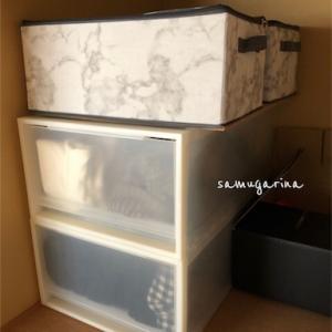 上から中身が見えるって便利!3COINSの透明フタ付き収納BOXが使いやすい。
