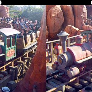 ビッグサンダーマウンテンの汽車の立体視写真