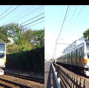 電車の立体視写真で視力回復トレーニング