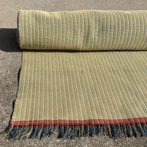 春色の縞木綿 織りあがりました。