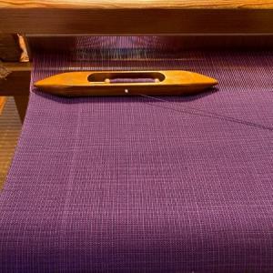 秋色(ログウッド)木綿の反物織り始めました。