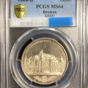 ドイツ ブレーメン 1864B 証券取引所 PCGS MS64