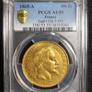 フランス 1865A 100フラン ナポレオン3世月桂冠