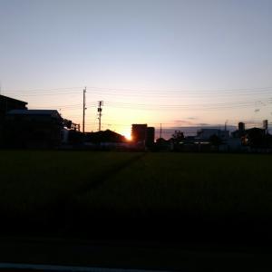 市街地の朝陽。