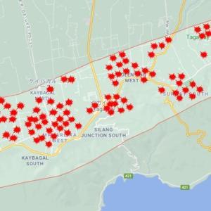 タガイタイ市のアクティブ感染者マップを作成