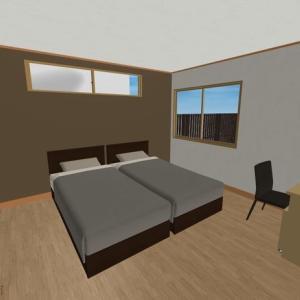 【間取り】主寝室・書斎:シングルベッドを2つ置いても余裕+書斎スペースだって作れる広さ