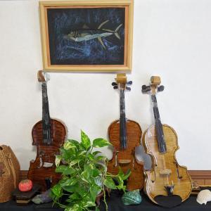 小4息子が作った紙バイオリン世界3大名器。ガルネリ。アマティ。ストラディバリ。