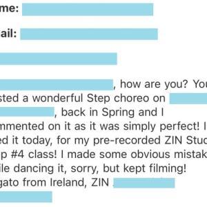 アイルランドのズンバ・インストラクターからのメールに感涙