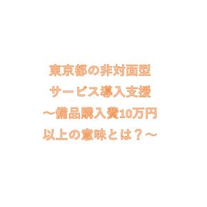 東京都の非対面型サービス導入支援~備品購入費10万円以上の意味とは?~
