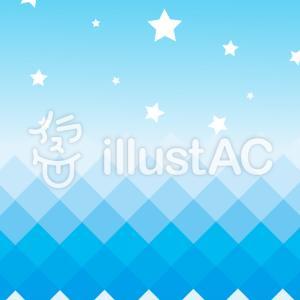フリーイラスト素材:ギザギザ海と星