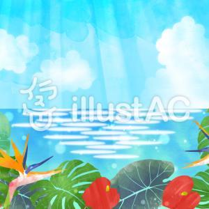 フリーイラスト素材:熱帯植物と海(横と縦)