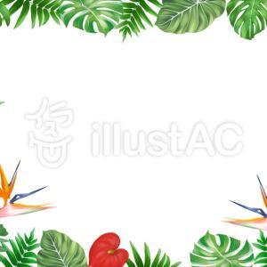 フリーイラスト素材:熱帯植物フレーム(横と縦)