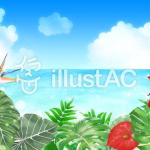 フリーイラスト素材:熱帯植物と海(横と縦)・3